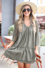 Olive - Lace Contrast Babydoll Dress from Dress Up