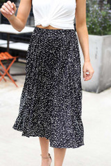 Ansley Spotted Pleated Midi Skirt