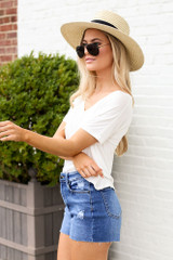 High-Rise Distressed Denim Shorts Side View