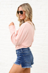 High-Rise Frayed Denim Shorts Side View