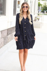 Navy - Polka Dot Button Front Tiered Dress