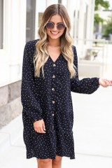 Polka Dot Button Front Tiered Dress from Dress Up