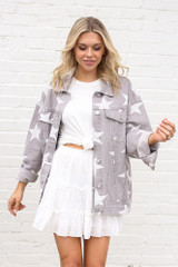 Star Print Oversized Denim Jacket Open View