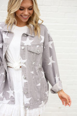 Star Print Oversized Denim Jacket Close Up