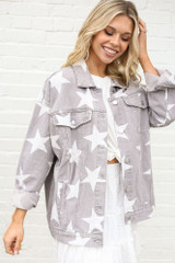 Grey - Star Print Oversized Denim Jacket