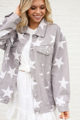 Star Print Oversized Denim Jacket Closer Up from Dress Up