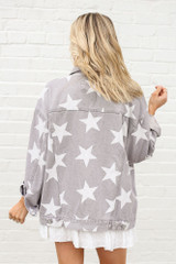 Star Print Oversized Denim Jacket Back View