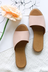 Flat Lay of the Asymmetrical Slip On Sandals