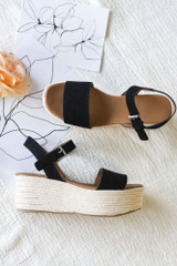 Black - Ankle Strap Platform Espadrilles from Dress Up