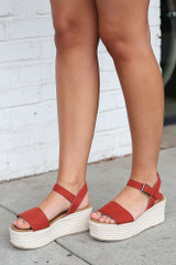 Rust - Model wearing the Ankle Strap Platform Espadrilles