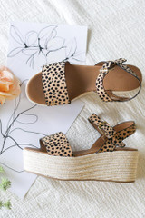 Leopard - Close Up of the Ankle Strap Platform Espadrilles