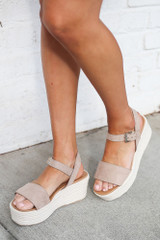Taupe - Close Up of a model wearing the Ankle Strap Platform Espadrilles