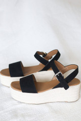 Ankle Strap Platform Espadrilles in Black Side View