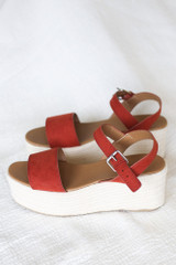 Ankle Strap Platform Espadrilles in Rust Side View