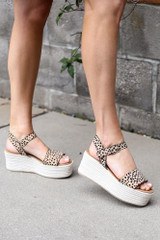 Ankle Strap Platform Espadrilles in Leopard Side View on a model