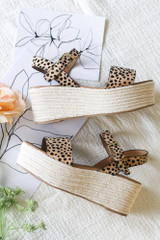Ankle Strap Platform Espadrilles in Leopard Side View