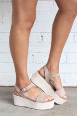Dress Up model wearing the Ankle Strap Platform Espadrilles in Taupe Side View