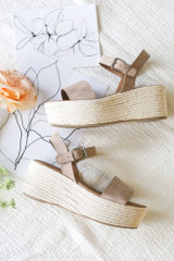 Flat Lay of the Ankle Strap Platform Espadrilles in Taupe