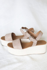 Ankle Strap Platform Espadrilles in Taupe Side View