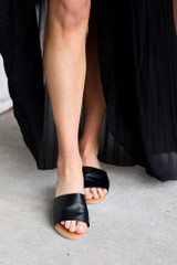Faux Leather Slip On Sandals in Black Front View