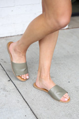 Khaki - Model wearing the Faux Leather Slip On Sandals