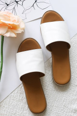 White - Close Up of the Faux Leather Slip On Sandals