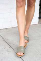Faux Leather Slip On Sandals in Khaki Front View