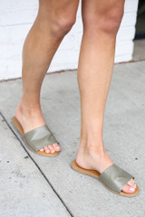 Faux Leather Slip On Sandals in Khaki Side View