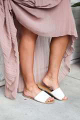 Faux Leather Slip On Sandals in White Side View