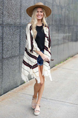 Taupe - cute striped kimono paired with platform espadrilles