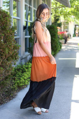 side view tiered maxi dress with tie straps