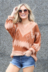 Chloe Aztec Print Distressed Knit