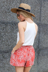 back view tropical print shorts