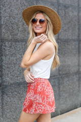 sideview rust tropical print shorts