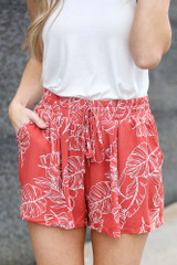 Rust - close up tropical print shorts