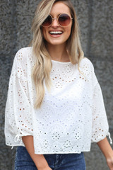 White - Tie Sleeve Eyelet Blouse