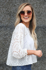 Side View White Eyelet Lace Top