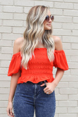 off the shoulder smocked puff sleeve top