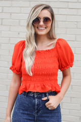 Smocked Puff Sleeve Top