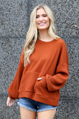 Rust - oversized ribbed knit pullover