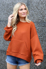cute oversized ribbed knit pullover