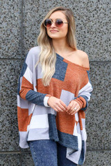 off the shoulder color block top