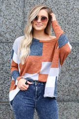 color block oversized lightweight knit