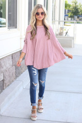 Blush - oversized swing fit lightweight knit top