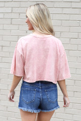 back view cropped acid wash tee
