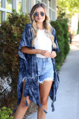 Navy - lightweight kimono for spring and summer