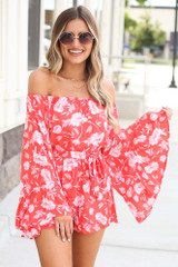 Coral - Floral Bell Sleeve Romper from Dress Up