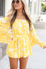 Yellow - Floral Bell Sleeve Romper from online dress boutique