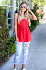 smocked cami in red with distressed denim jeans