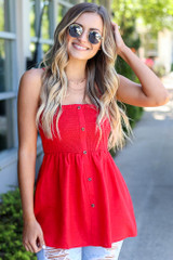 Red - Smocked Button Cami Top from Dress Up Boutique